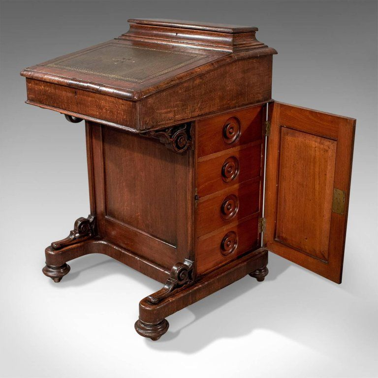 Victorian Antique Davenport, English Oak Writing Desk, Bureau, circa 1870  For Sale 4 - Victorian Antique Davenport, English Oak Writing Desk, Bureau, Circa