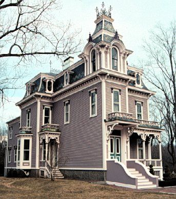 The George Lord Little House In Kennebunk Maine The Victorian House Built In 1875 Displays Curve Victorian Homes Old Victorian Homes Victorian Style Homes