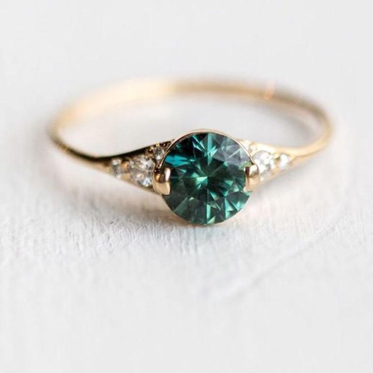 Anillo de mujer real oro 333 safir 8kt taufring juwelierqualität zafiro dorado