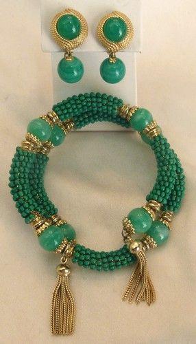 Vintage 1960's Ciner Glass Bead Faux Jade Wrap Tassle Bracelet Earrings Classic | eBay