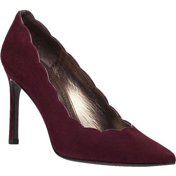 STUART WEITZMAN Scallopfine Bordeaux Suede Pump ($189) ❤ liked on Polyvore  featuring shoes, · Suede PumpsHigh Heel ...