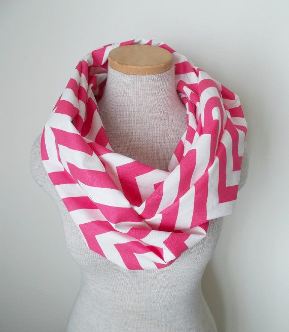 Hot Pink and White Chevron Infinity Skinny by MegansMenagerie, $20.00