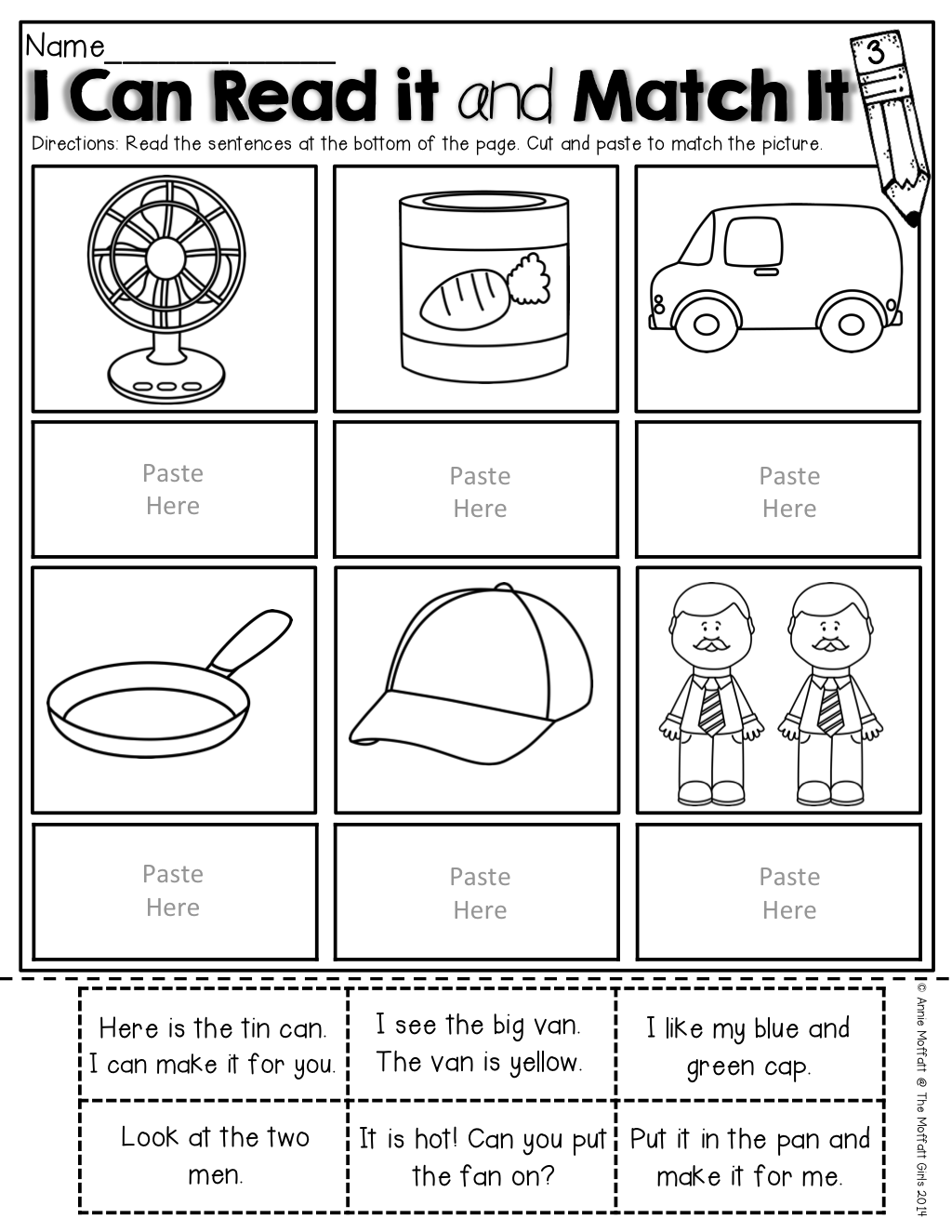 Rhyming Worksheet Cut Out