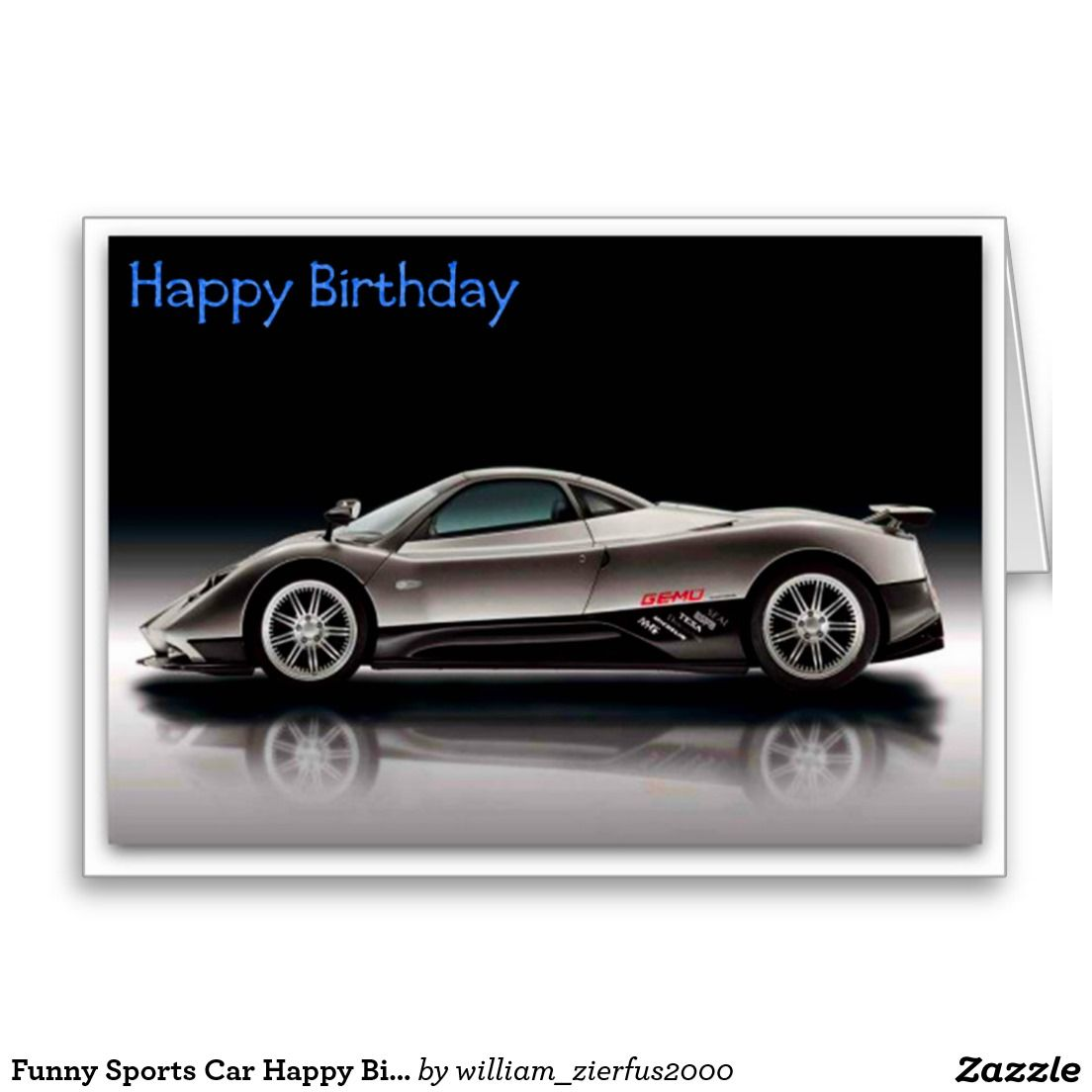 Funny Sports Car Happy Birthday Picture Card