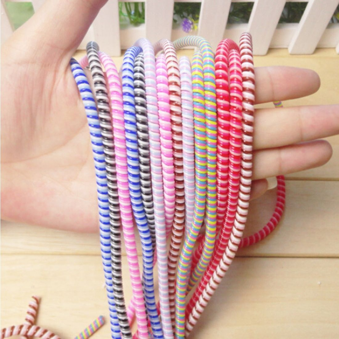 Cable Protector 20Pcs USB Charger Solid Wrap Cables Organizer TPU Spiral Solid