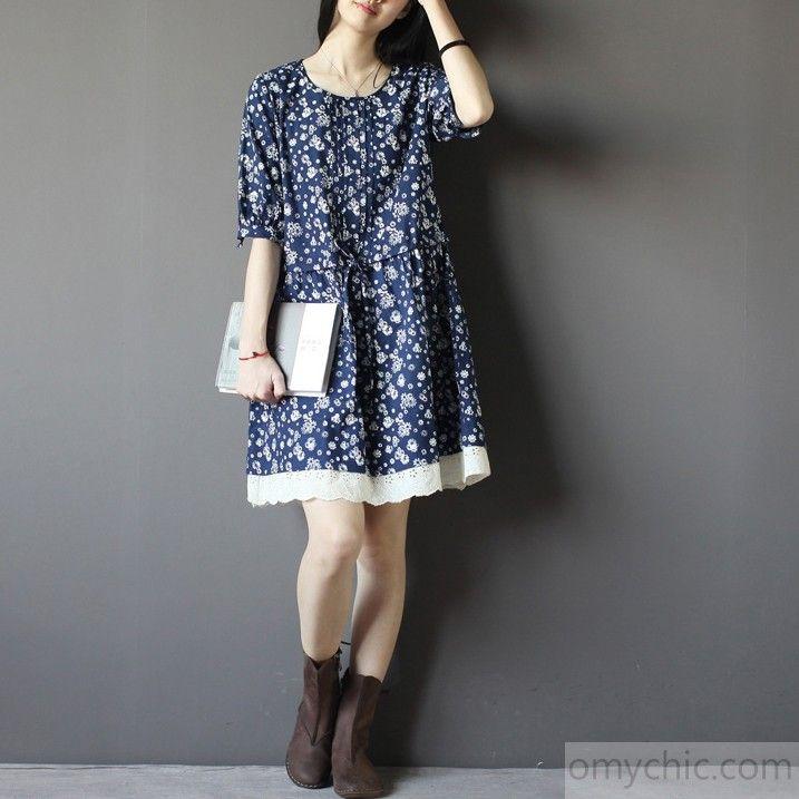 4e686ac7efb1c Blue floral cotton sundress plus size cotton shift dresses   Summer ...