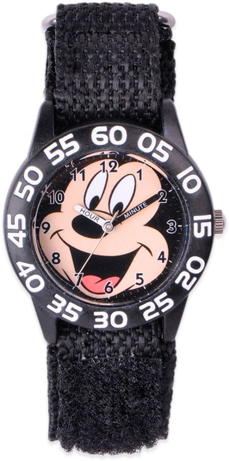 f5303436ac37 Mickey Mouse smiles from ear to ear on the dial of this plastic ...