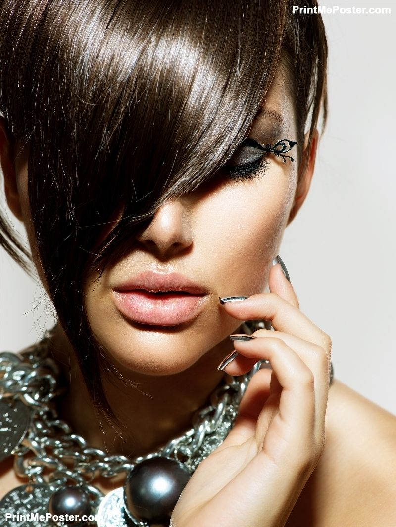 Fashion Model Girl Portrait Trendy Hair Style Short Haircut Hairstyle Beauty Woman Closeup Fringe Hairdressing Silver Metallic Accessories And Manicure P Stylish Hair Glamour Beauty Beauty Salon Posters