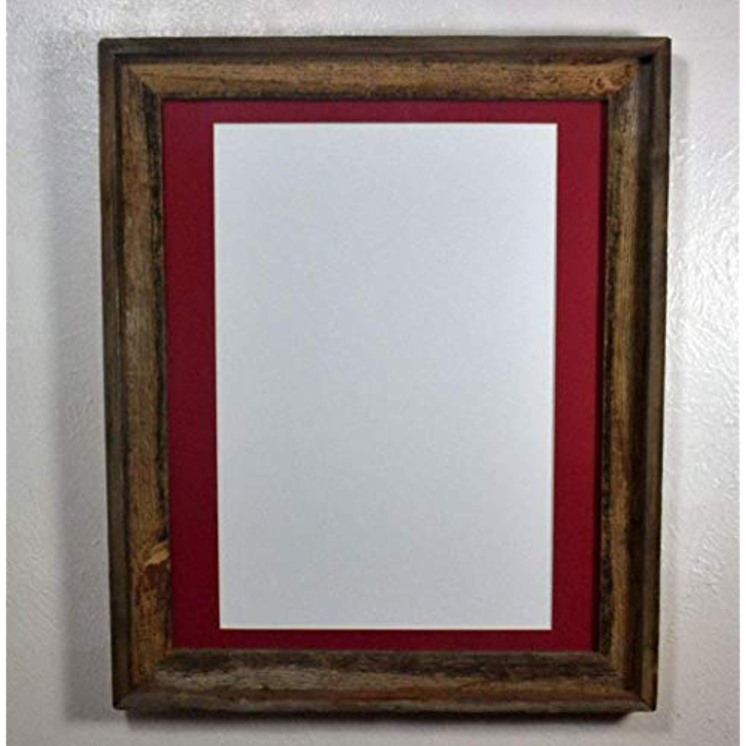 Rustic Wood Frame 12x18 Red Mat Wall Hung Poster Frame With Glass 16x20 Without Mat Check This Awesome Wood Picture Frames Rustic Frames Picture Frame Mat