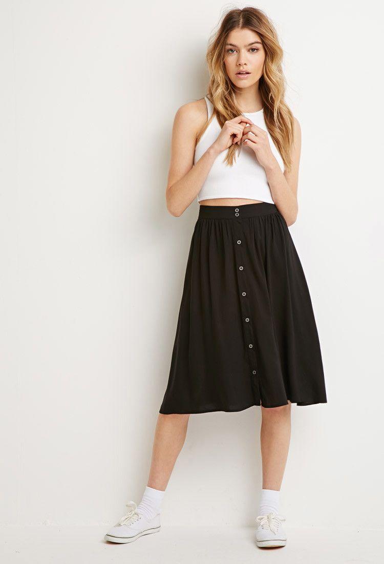 69f5fb61fbafc4 Buttoned Midi Skirt | Forever 21 | Baubles & Rags | Midi skirt ...