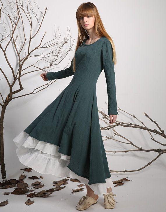 54c53243e49 Green dress Linen Dress prom dress women casual dress by xiaolizi