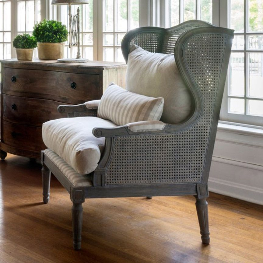 Cane wingback chair french country living room lounge