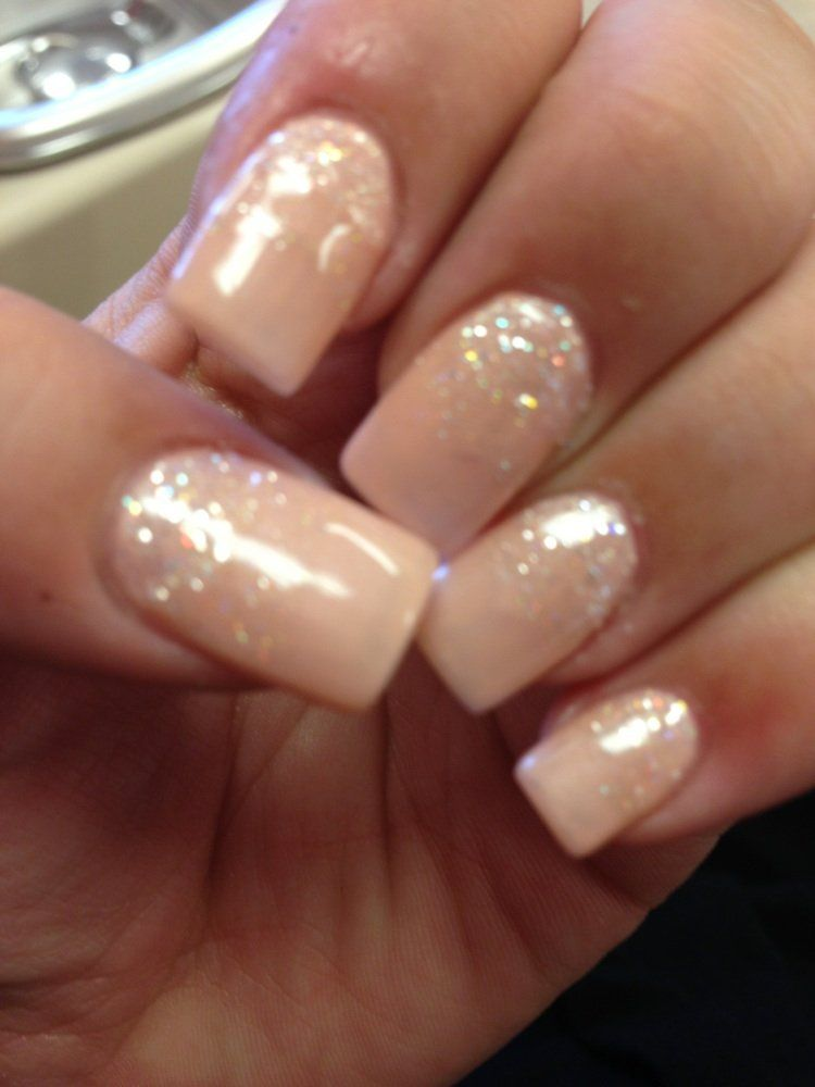 Nude Gel With Glitter Love  Nails  Nude Nails, Nails -9471
