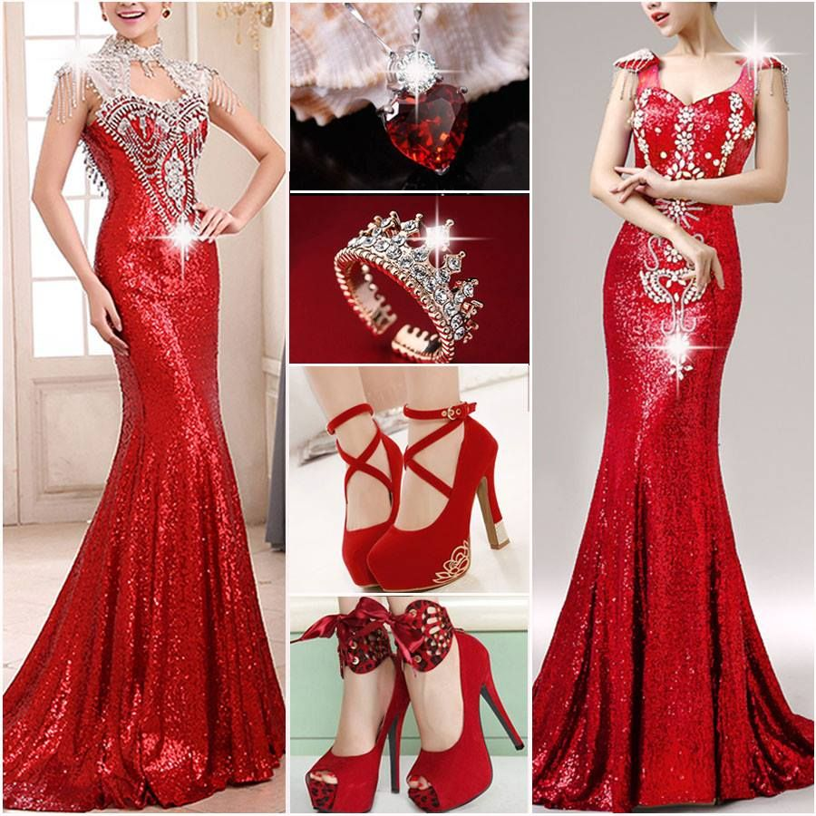vestido rojo brillante corte sirena