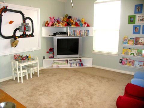 Creating An Inexpensive Playroom Storage Kids Room Kids Playroom Diy Tv Stand