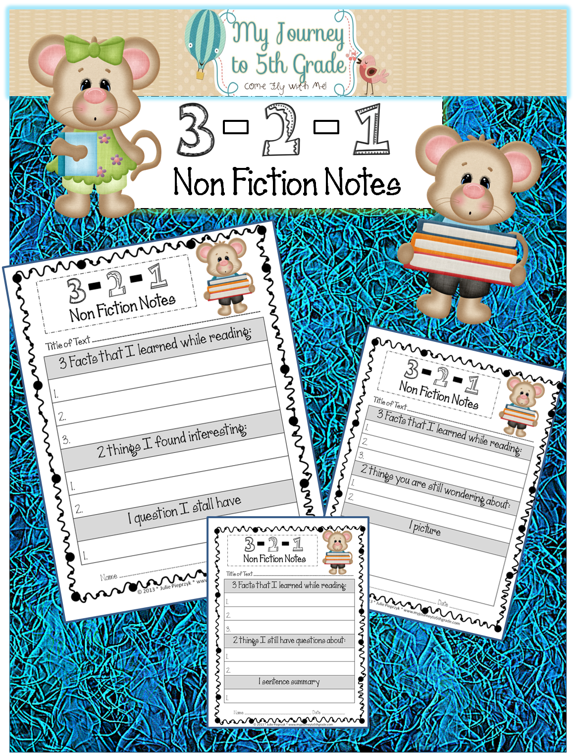 3 2 1 Nonfiction Summary Note Taking Templates