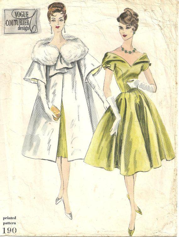 Vogue 190 Evening Gown Dress | fashions | Pinterest | Figurin, Moda ...