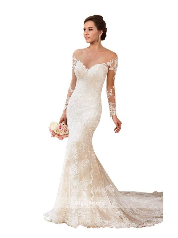 Shop Of Wedding Cheap 2018 Mermaid Sweetheart Chapel Train Sleeveless Long Lace Ivory Wedding D Lace Wedding Dress Vintage Wedding Dresses Lace Lace Weddings