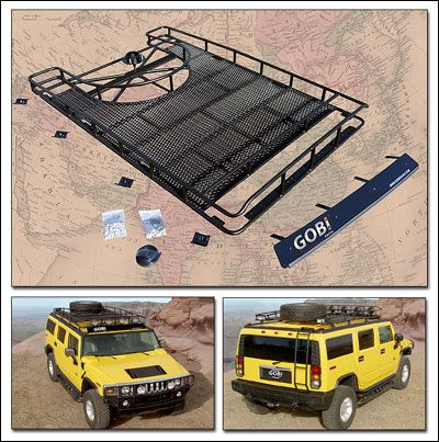 Hummer Parts And Accessories Gobi H2 8 Roof Rack W Tire Carrier No Sunroof Welded In Expanded Metal Deck 2 Inch Side B Roof Rack Metal Deck Expanded Metal