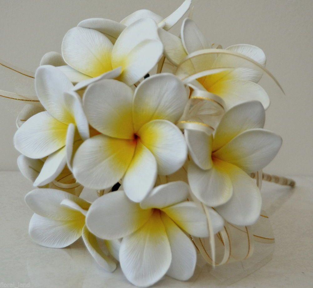Silk Wedding Frangipani Posy Bouquet Latex Wedding Bouquets Flowers