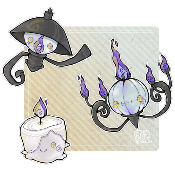 Cute Stylized Pokemon Evolution Line Fan Art Litwick Lampent And Chandelure