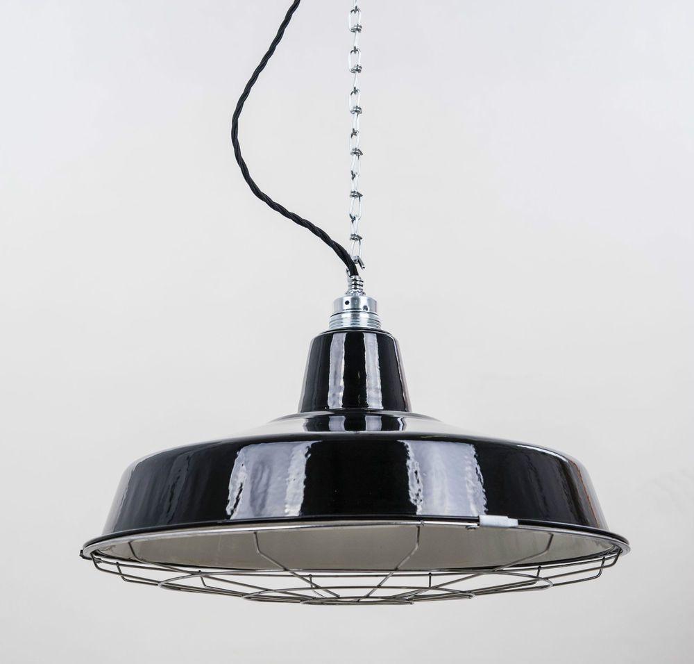 fabriklampe factory 41cm schwarz gitter emaille lampe industrial lighting in m bel wohnen. Black Bedroom Furniture Sets. Home Design Ideas