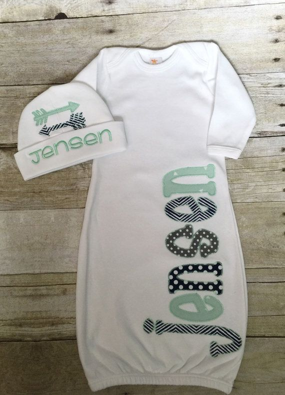 d199ffaf40a All items are custom made to order and will ship within 7-10 business days.  Personalized Name Baby Boy Arrow Embroidered - Newborn Hospital Set - Infant