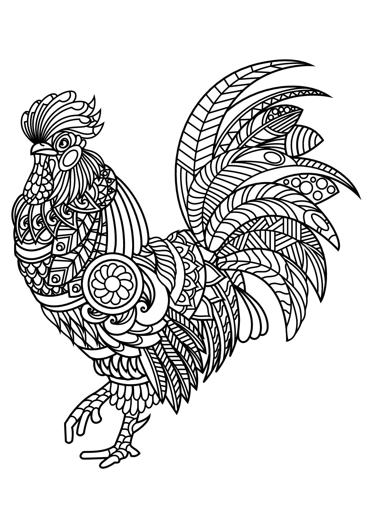 25 Brilliant Photo Of Rooster Coloring Page Mandala Coloring