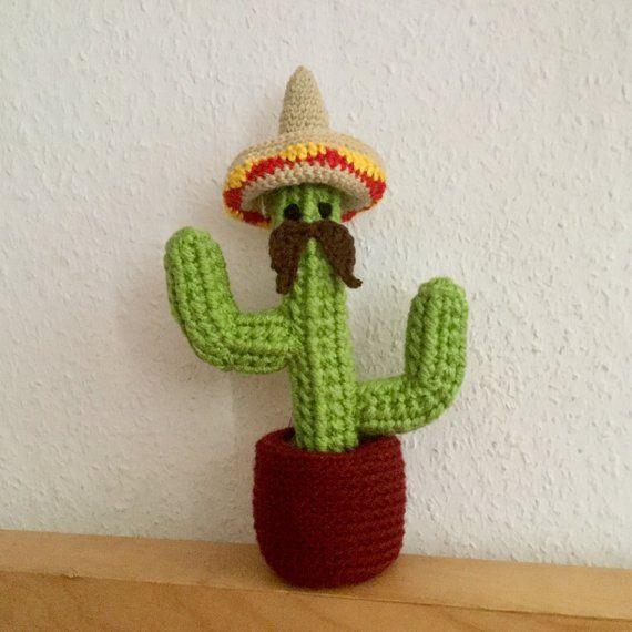 Kaktus Im Topf Mit Augen Schnurrbart Und Hut Amigurumi Tequila