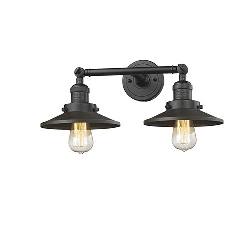 Photo of Innovations Lighting Railroad Oiled Rubbed Bronze Two Light Bath Vanity 208 Ob M5 | Bellacor