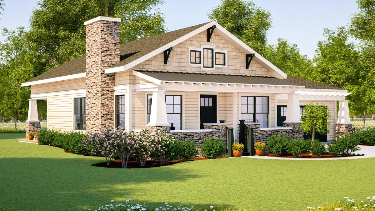 Simply Simple One Story Bungalow Craftsman House Plans House Plans One Story Craftsman Bungalows