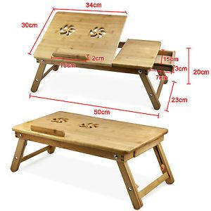 Portable Flower Bamboo Laptop Notebook Computer Desk Bed Tray Table UK