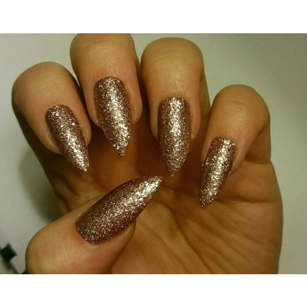 Rose Gold Glitter False Glue On Nails Stiletto By Nail Art Summer Designs Autumn Halloween