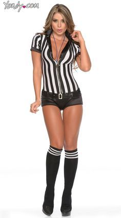 Referee Womens Costume Ladies Fancy Dress Outfit Football Dressup
