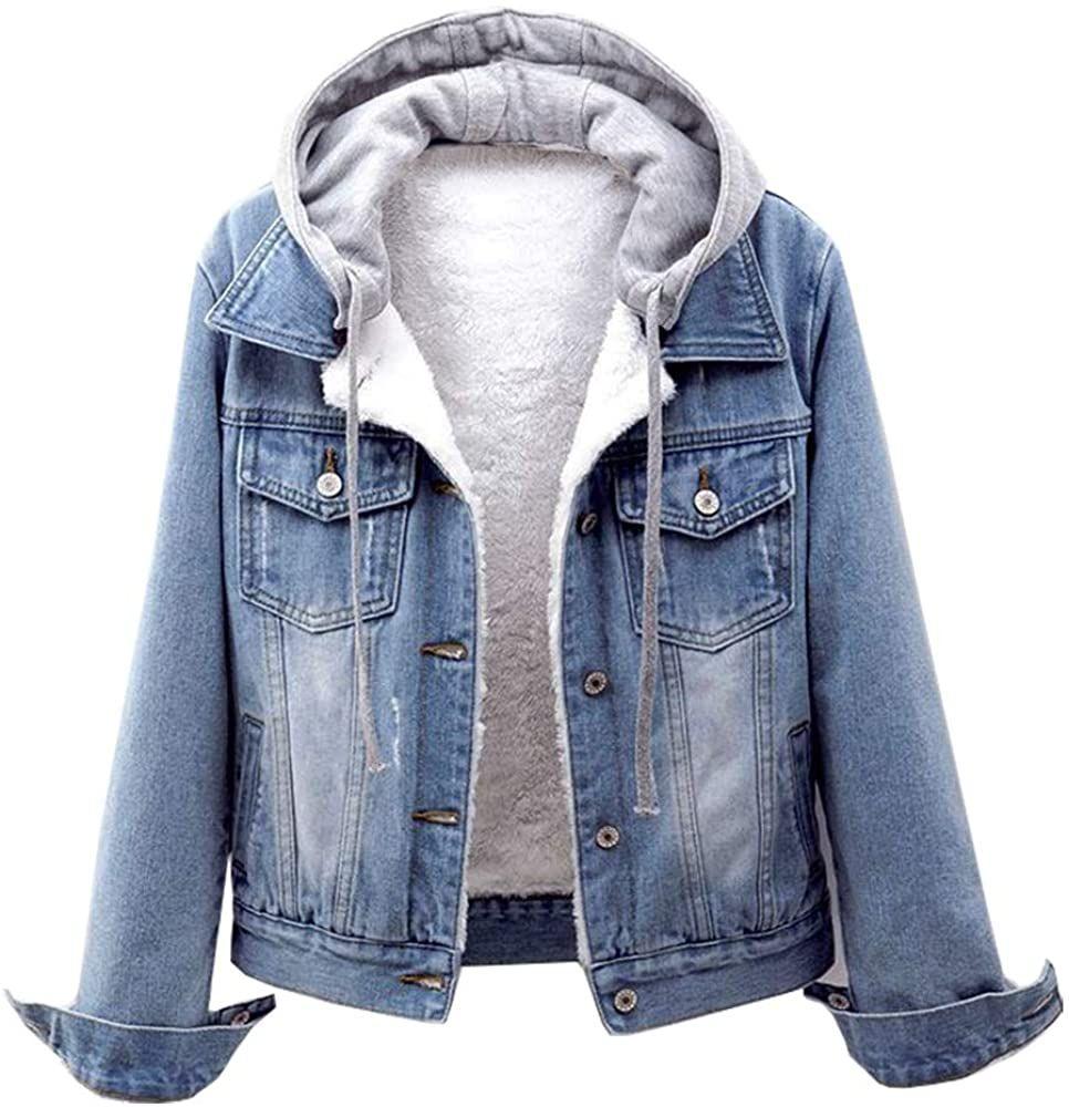 Chic Lifeshe Women S Winter Detachable Hoodie Sherpa Fur Fleece Lined Denim Jean Trucker Jacket Jacket Outfit Women Coats Jackets Women Womens Fashion Jackets [ 1000 x 966 Pixel ]