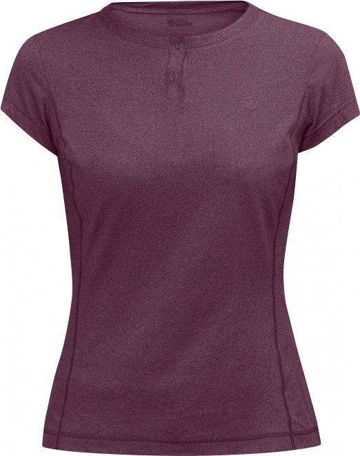 Short-sleeved top in functional material with soft cotton-like feel. Material that wicks away moisture and dries fast – perfect for trekking and other strenuous activities in warm climates. Round neck with short opening and press buttons.