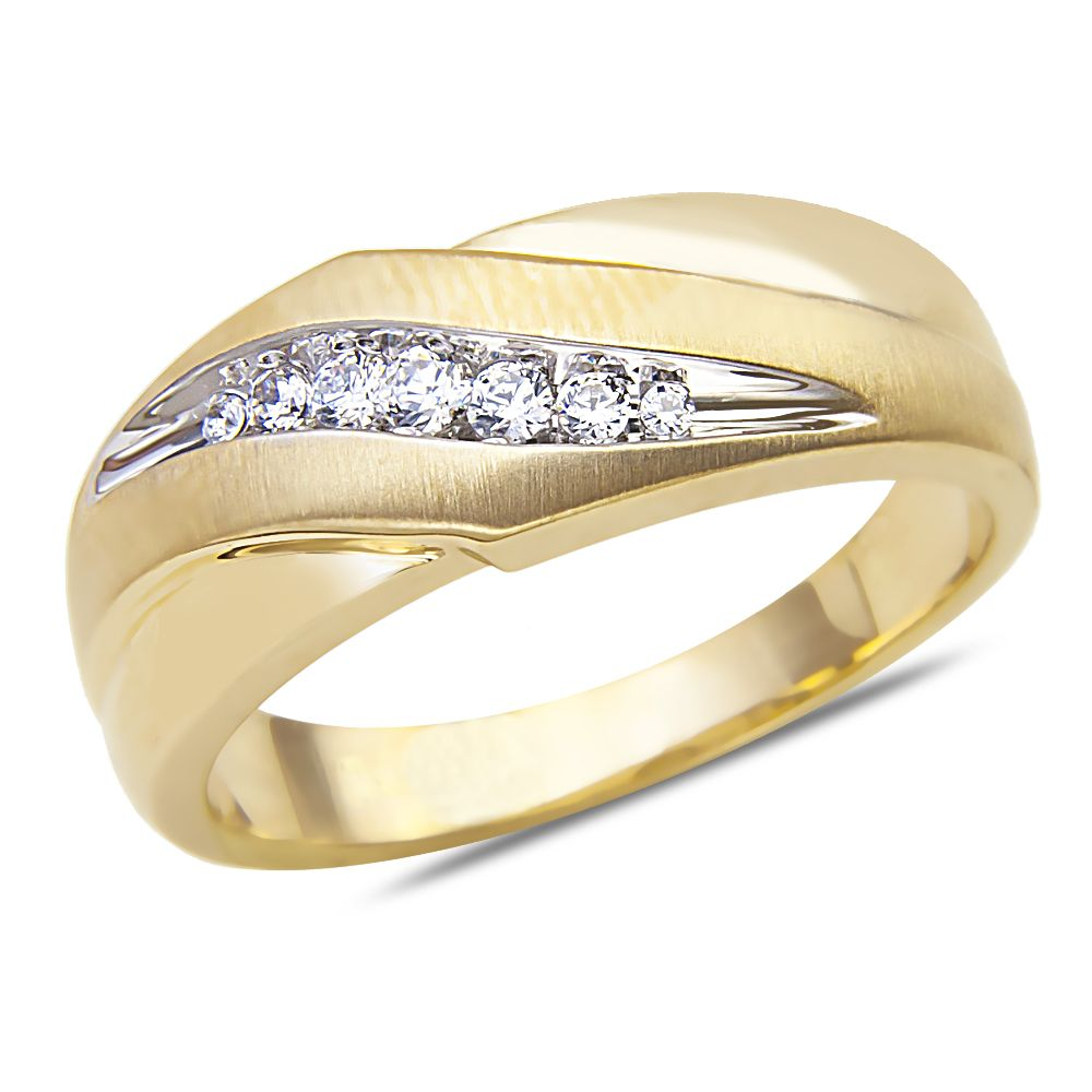 Mens 17CT Diamond Wedding Band in 10k Yellow Gold with a Cage Back