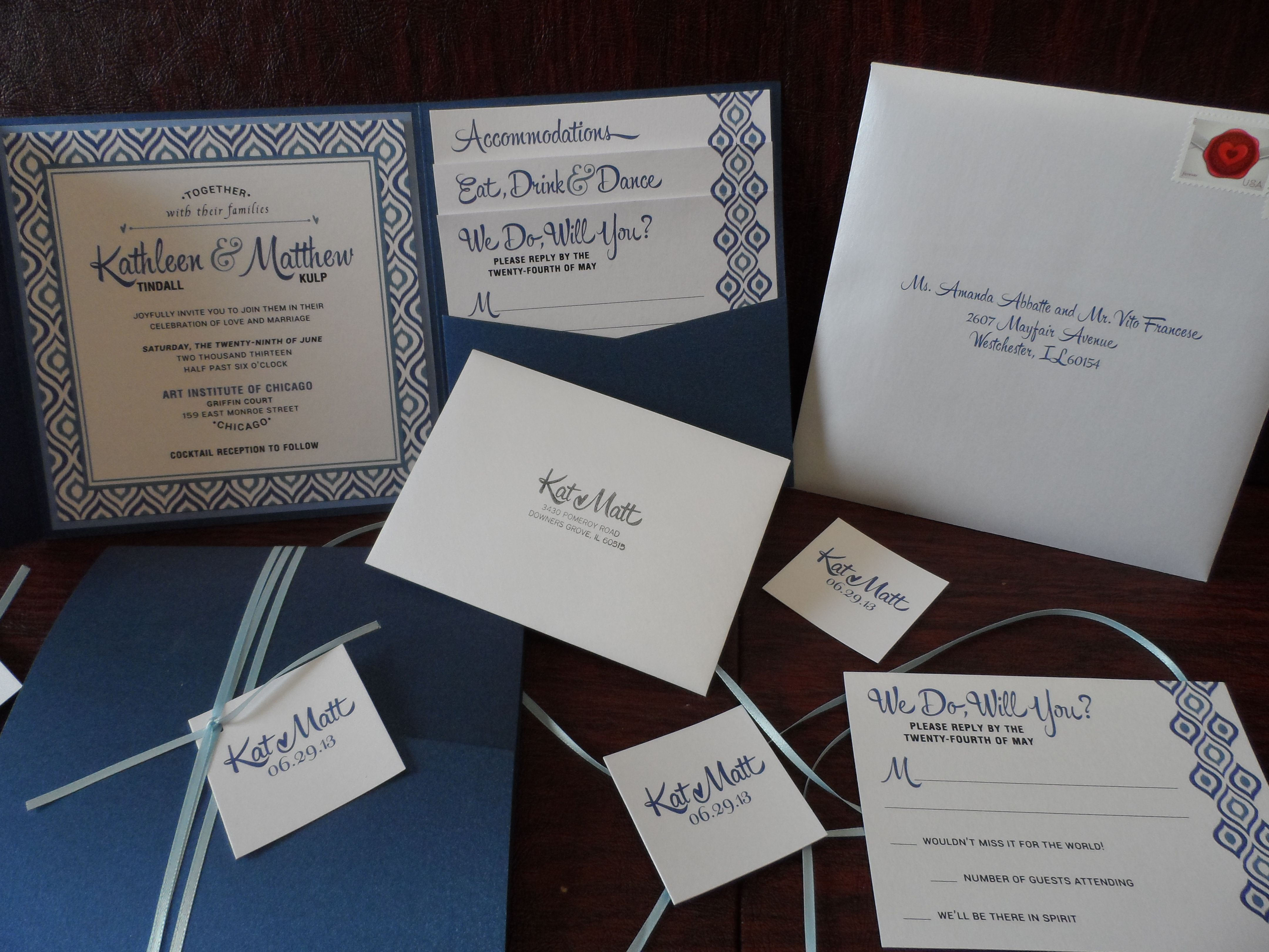 pocket wedding invitation templates%0A Blue and White  x  pocket invitation design complete with printed envelopes  and ribbon and tag detail