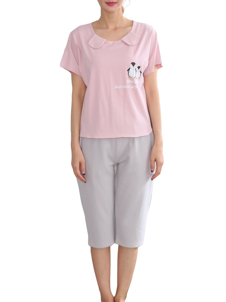 Buy Women s Home Suit Animal Color Block Short Sleeve Sleepwear Set   Women s  Pajamas - at Jolly Chic 74390cd19