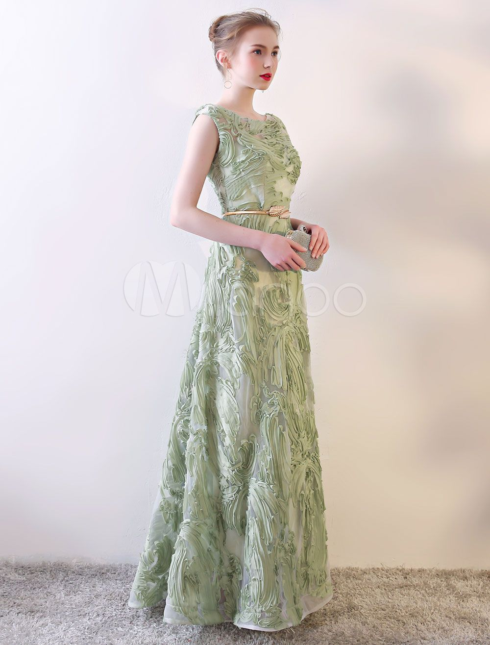 Prom Dresses Long Sage Green Sleeveless A Line Floor Length With Sash Wedding Guest Dress Green Formal Dresses Prom Dresses Long Prom Dresses [ 1316 x 1000 Pixel ]