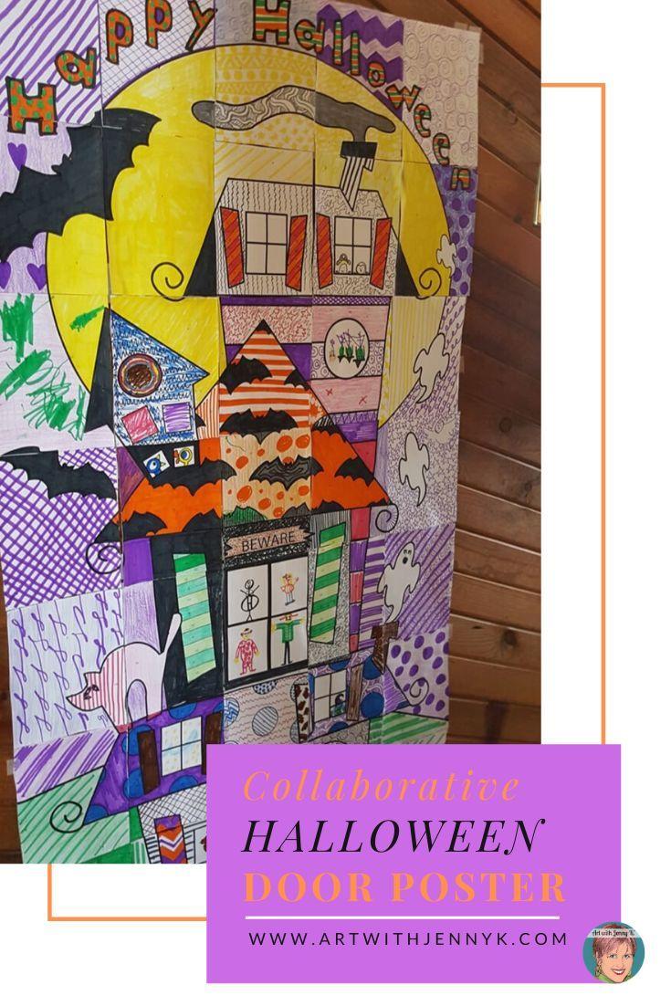 Classroom Halloween Craft: Collaborative Halloween Door Poster #halloweendoordecor