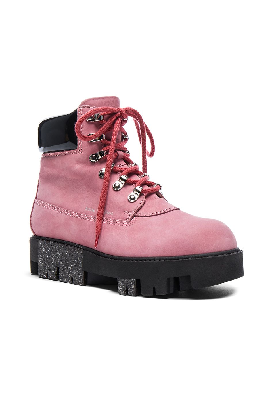 317d6ad98b6 Image 2 of Acne Studios Leather Telde Boots in Bubble Pink & Black ...