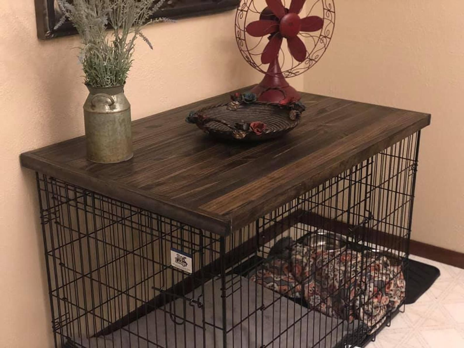 Dog kennel wood table top dog kennel cover farmhouse
