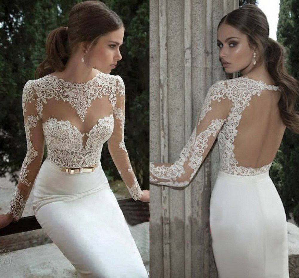 Fine temperament fashion lace longsleeved backless dress long