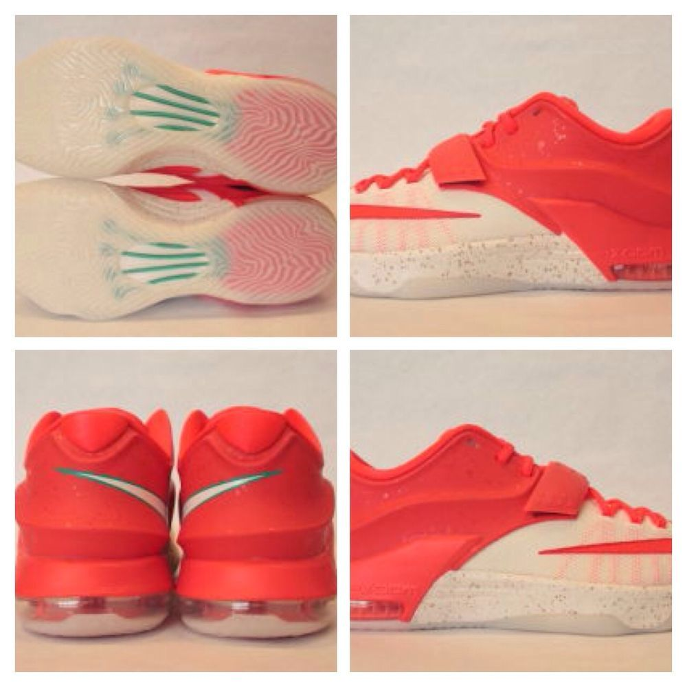 99f6002abf59 Nike KD 7 VII Christmas Egg Nog Bright Crimson Ivory-Emerald Green Sizes 4Y