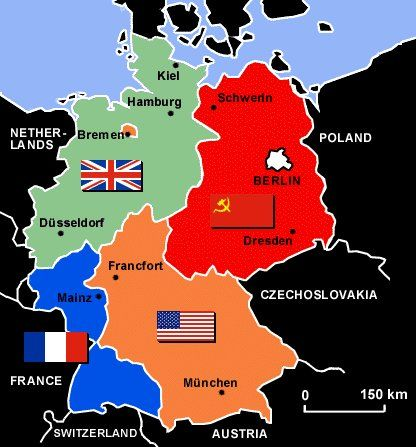 Germany after World War II. #Germany #Map #Postwar #WWII ... on map of europe cold war, nato cold war, berlin wall map cold war, map of berlin world war 2, map of warsaw pact cold war,