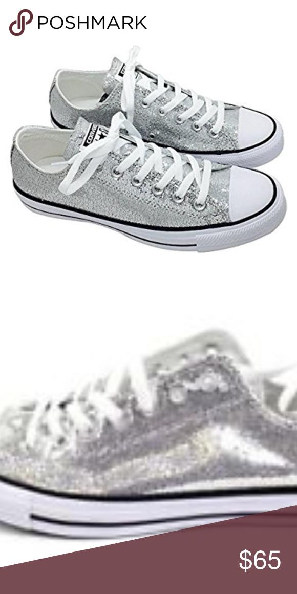 11fcb186d82d0f Silver sparkle low top converse shoes. These are a Men s 11 Women s 13. Converse  Shoes Sneakers