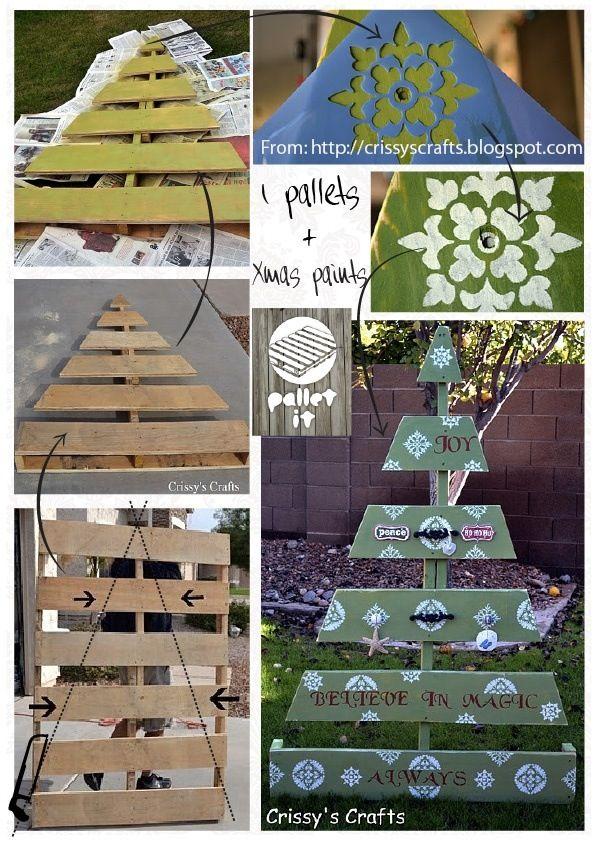 Pallet christmas tree craft ideas pinterest for Pinterest pallet christmas ideas