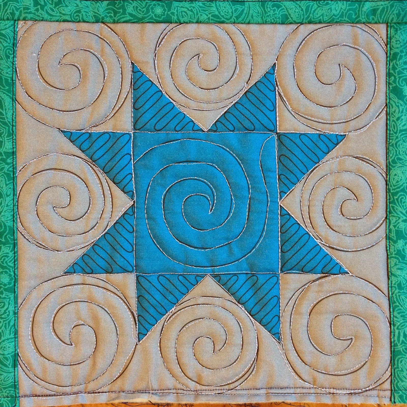 The Free Motion Quilting Project: 48. Quilt Spirals in a Sawtooth Star