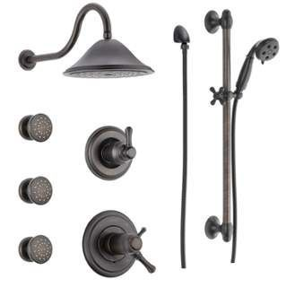 Photo of Delta DSS-Cassidy-17T03RB Venetian Bronze TempAssure 17T Series Thermostatic Shower System with Integrated Volume Control, Shower Head, 3 Body Sprays and Hand Shower – Includes Rough-In Valves – FaucetDirect.com